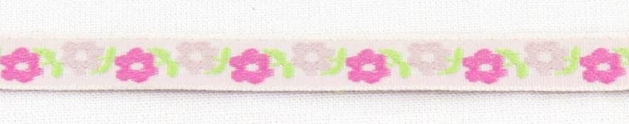 Band schmal Blumen rosa