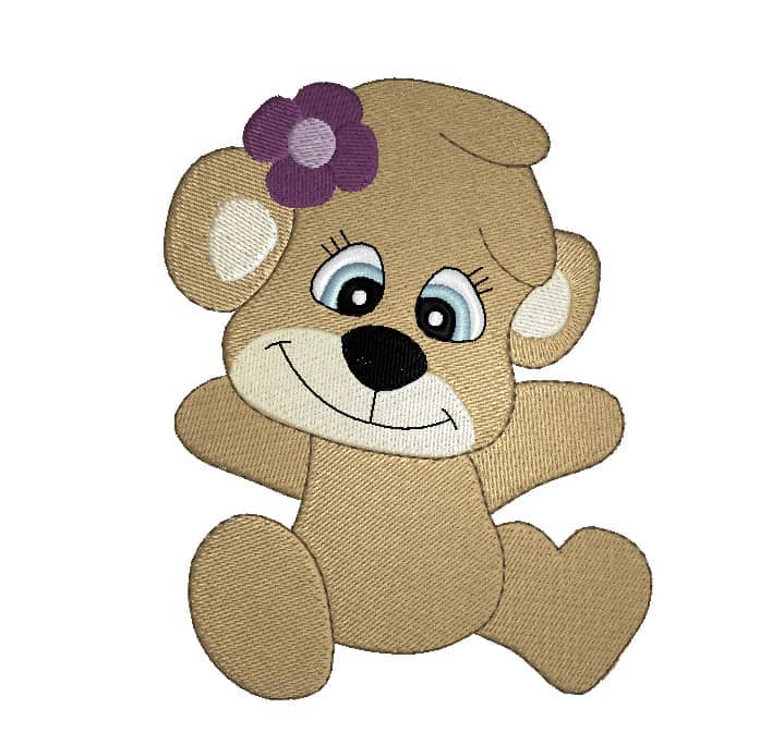 Bärenmädchen mit Blume 4 Blatt