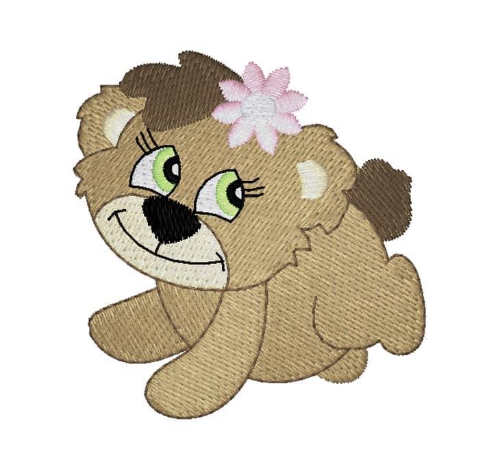 Bärenmädchen mit Spitzblume