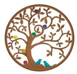 Lebensbaum mit Vögel und Chakren