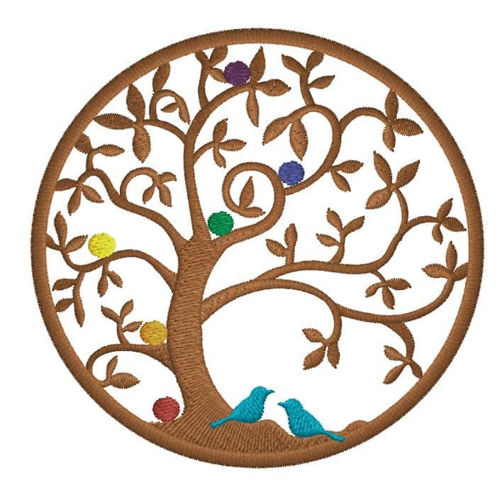 Lebensbaum mit Chakren und Vogelpaar