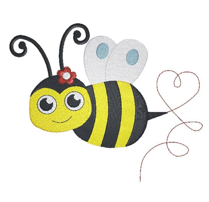 Biene mit Herzspur