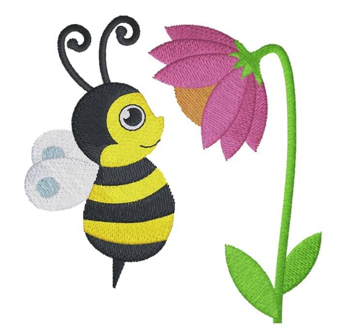 Biene mit Stielblume
