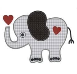Elefant mit Herz Stoffappli