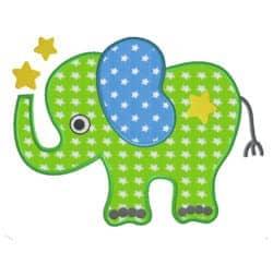 Elefant mit Stern Stoffappli