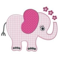 Elefant mit Blumen Stoffappli