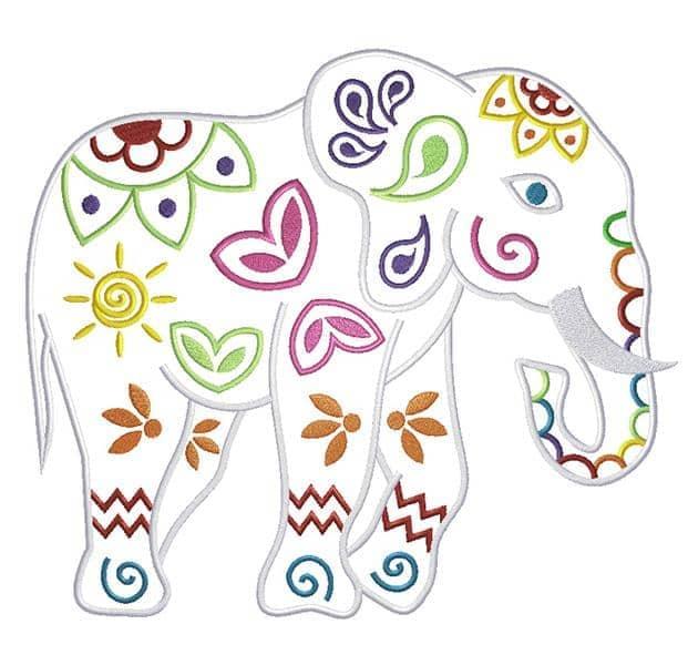 Mandala Elefant seitlich bunt