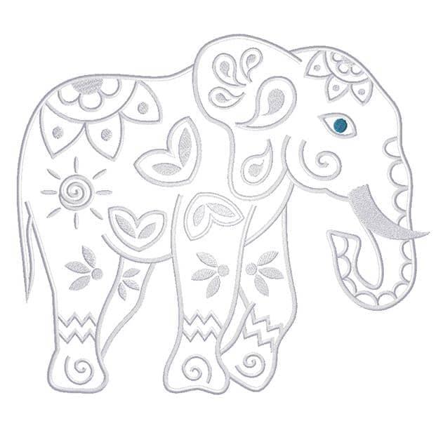Mandala Elefant seitlich weiß