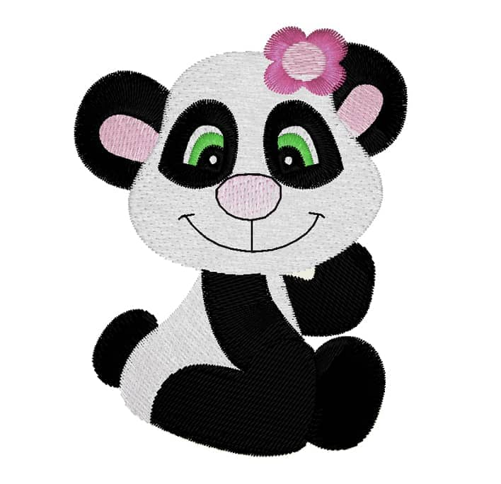 Pandabär mit Blume
