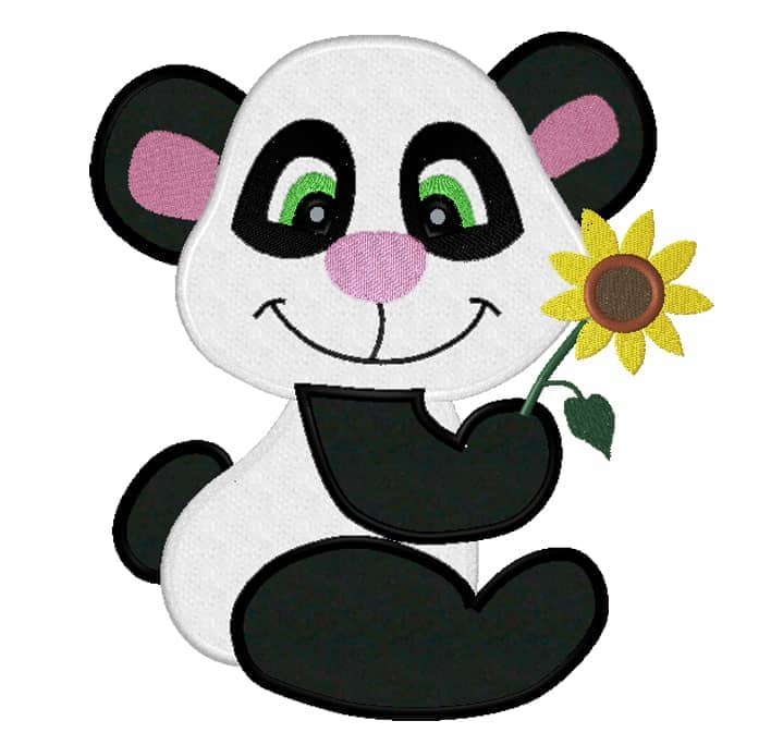 Panda mit Sonnenbluem