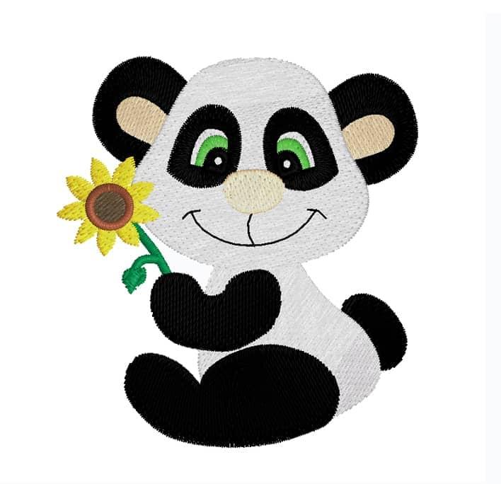 Pandabär mit Sonnenblume