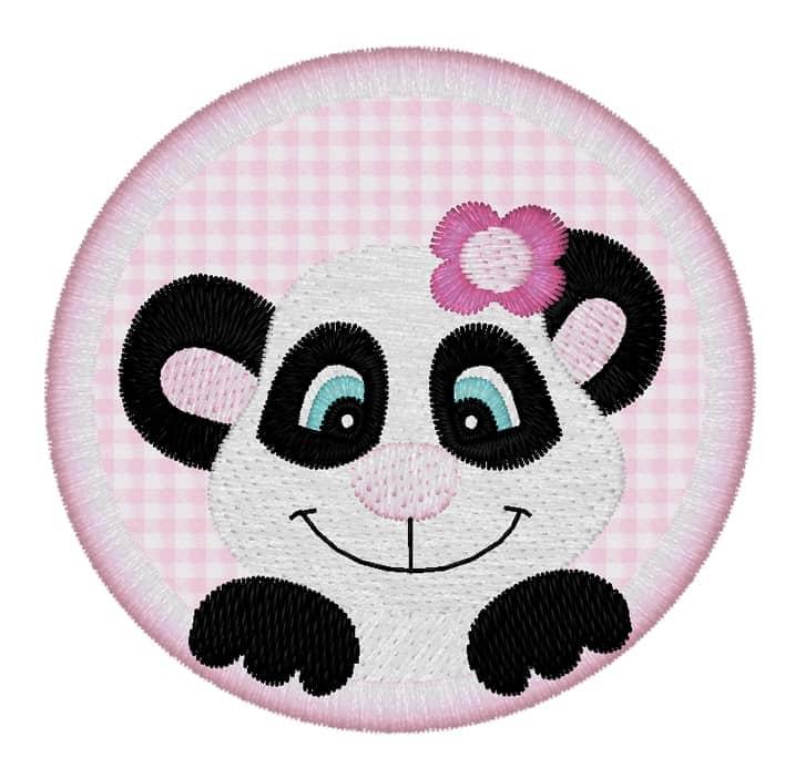 Pandagirl mit Blume im Kreis
