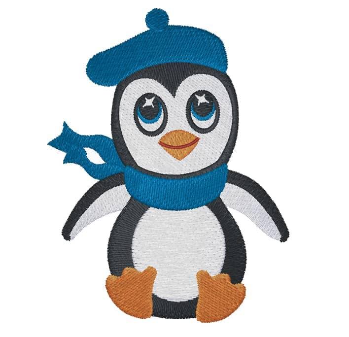 Pinguin mit Baskenmütze