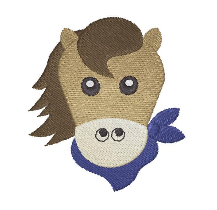 Ponykopf mit Halstuch braun