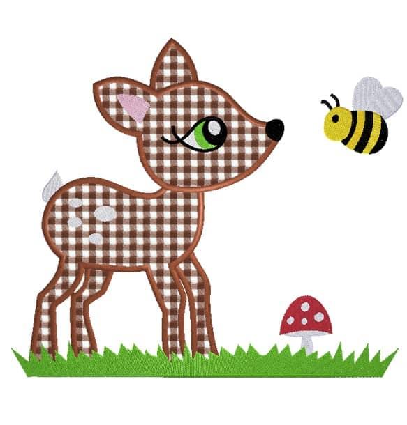 Rehlein mit Biene und Wiese