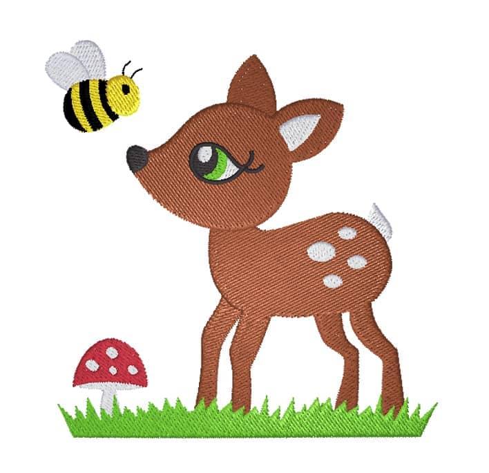 Rehlein mit Wiese Pilz und Biene