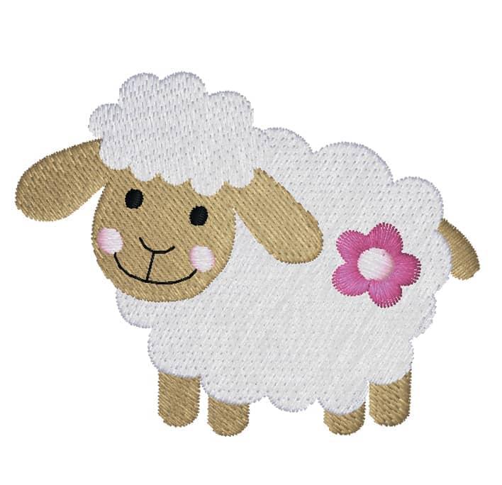Schaf seitlich mit Blume