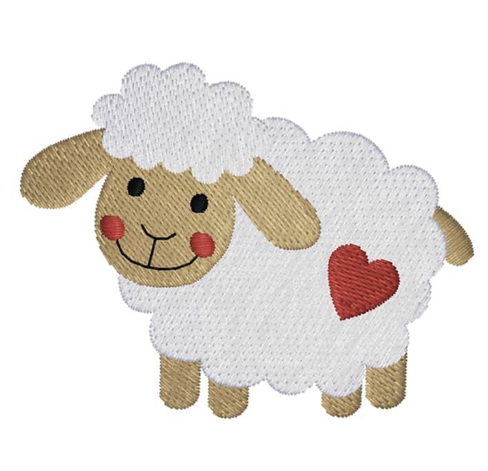 Schaf seitlich mit Herz