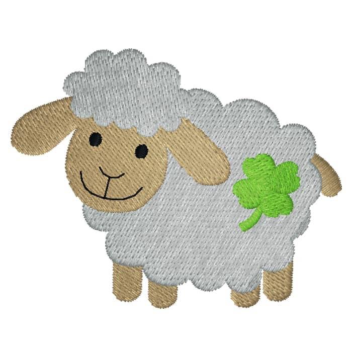 Schaf seitlich mit Kleeblatt