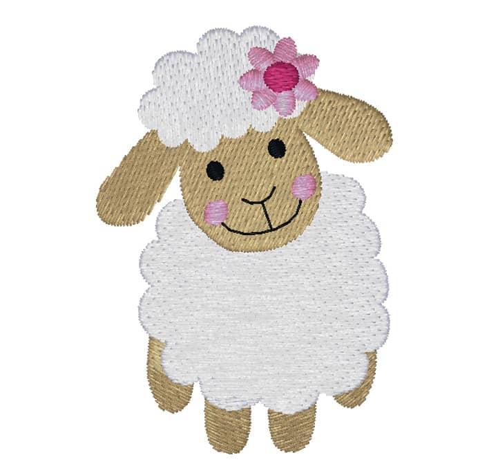 Schaf stehend weiß mit Blume