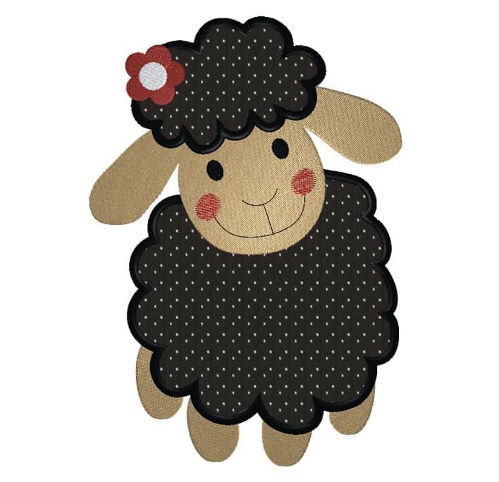 Schaf stehend schwarz mit Blume