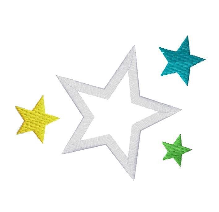 Stern weiß Rand 3 bunte Sterne
