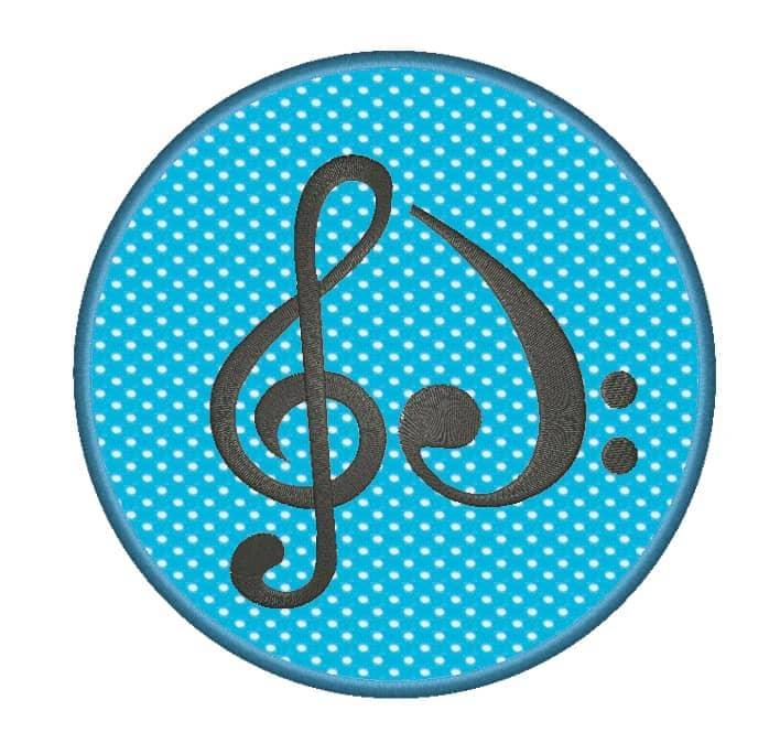 Violin Bass Herz im Stoffkreis