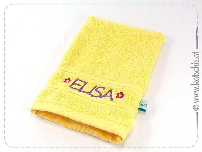 Bestickter Waschhandschuh mit Namen individuell personalisiert