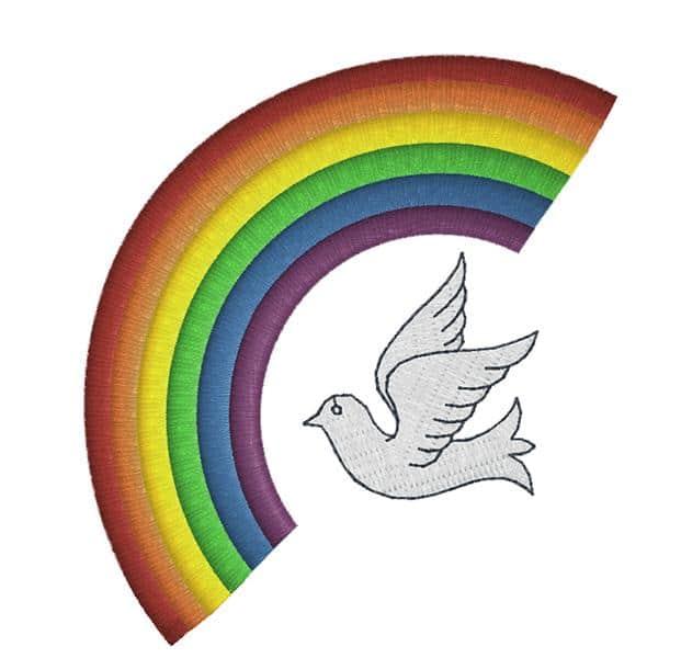 Regenbogen mit Friedenstaube
