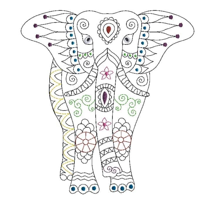 Mandala Elefant von vorne