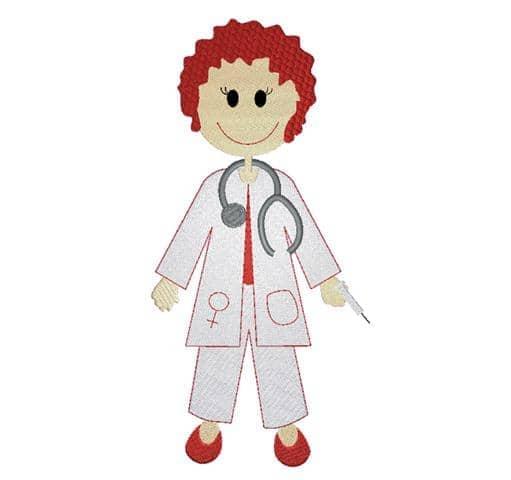 Ärztin mit Spritze rot