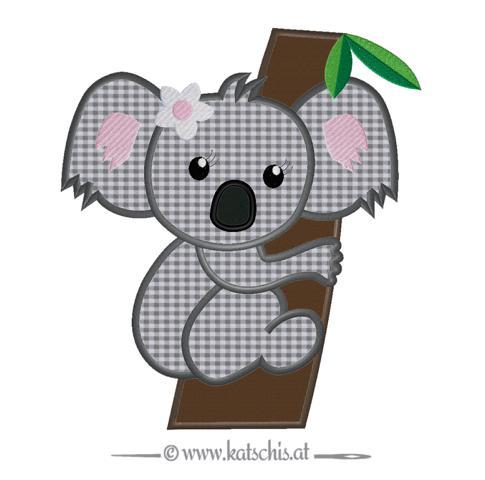 Koalabär Girl auf Baum